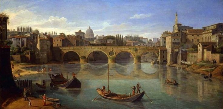 WITTEL, Caspar Andriaans van  The Port of Ripetta, Rome  -  Oil on canvas, 75 x 175 cm  Private collection