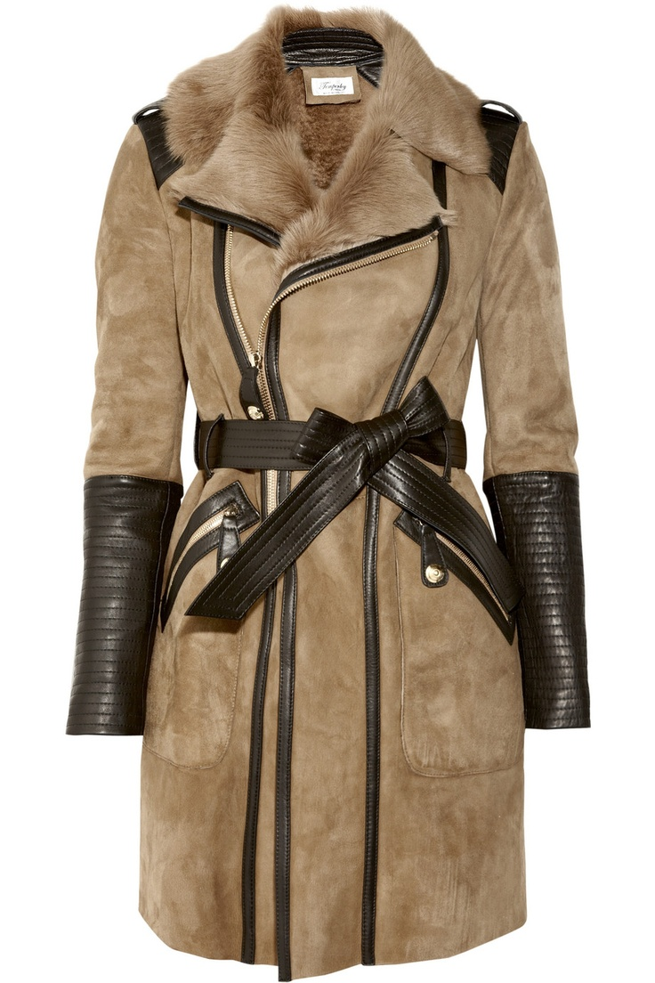 Leather-trimmed shearling coat