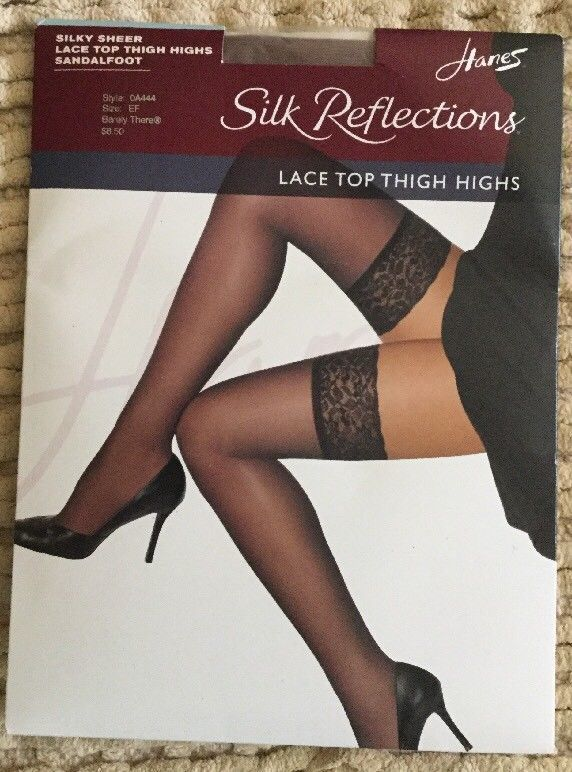 9d4018fc1c4 Hanes Silk Reflections Lace Top Thigh Highs Barely There Silky Sheer Size  EF NWT | eBay