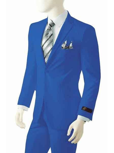 Two buttons Suit, Royal Blue Single Breasted Suit