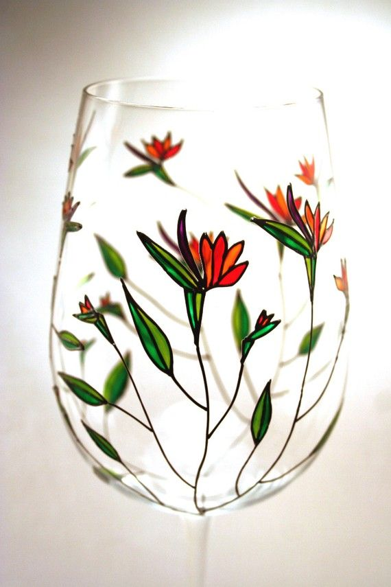 Painted Wine Glasses Birds of Paradise Tropical by decouverre, $85.00