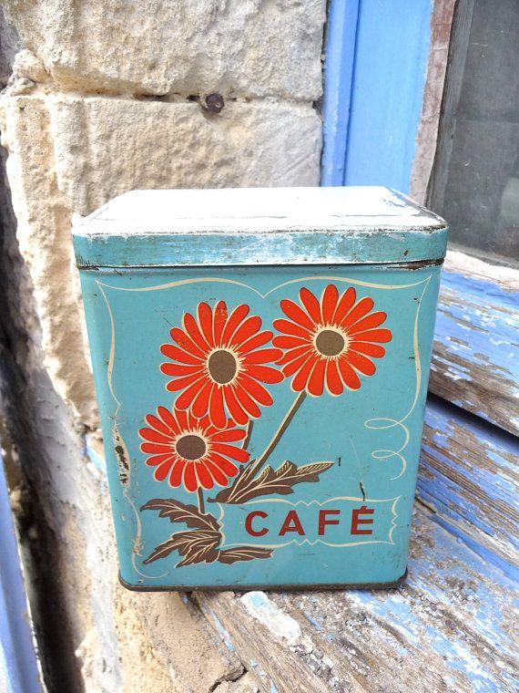 blue & orange coffee tin