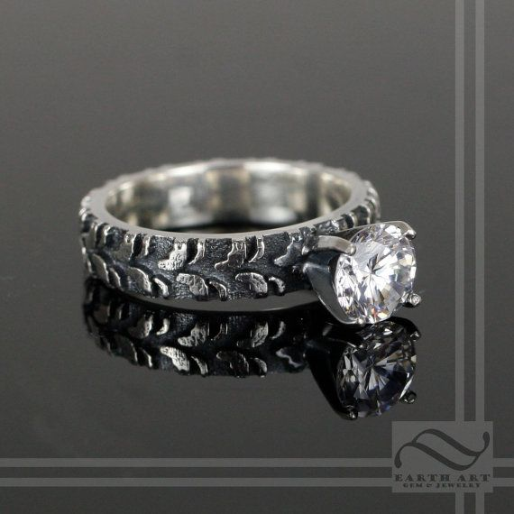 Ladies Narrow Tire Tread Ring with CZ - Sterling Silver,  My wedding ring. Right here.
