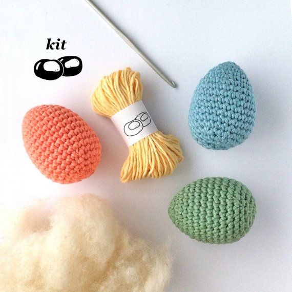 Egg Crochet Kit / DIY Easter Crochet Kit / Easter Eggs / Eco-friendly Craft Kit / Simple Crochet Pattern / Simple Amigurumi