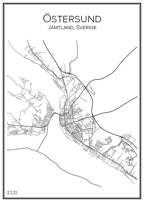 Östersund. Jämtland. Sverige. Karta. City print. Print. Affisch. Tavla. Tryck.