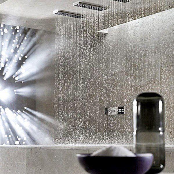 Этот необычный горизонтальный #душ был разработан немецкой компанией Dornbracht. Общая конструкция включает в себя шесть душевых насадок вмонтированных в плиту. В этом плане душ обладает широким спектром настроек. Пользователь может выбирать интенсивность и количество подачи воды и температуру. Использовать душ для расслабления и как спа-процедуру или наоборот взбодриться, задать активное настроение. А какой режим выберешь ты?! #санузел #сантехника  http://santehnika-tut.ru/verhnie-dushi/
