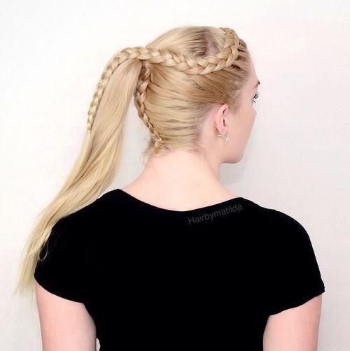 blonde braided ponytail hairstyle
