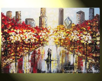 """Orignal Art Abstract Painting Couple City Park Dance Modern PRINT CANVAS Prints Urban Grey Red Home Wall Decor LARGE sizes to 60"""" -Christine"""