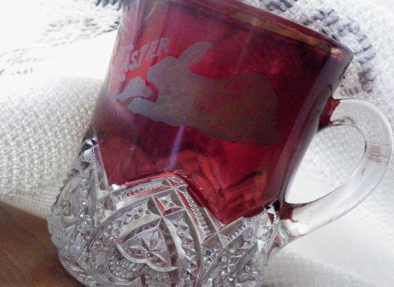 Hippity hop for vintage easter 89 pinterest ruby glass bunny cup 1897 heart band trim mckee and brothers antique eapg ruby red flash glass easter collectible negle Images