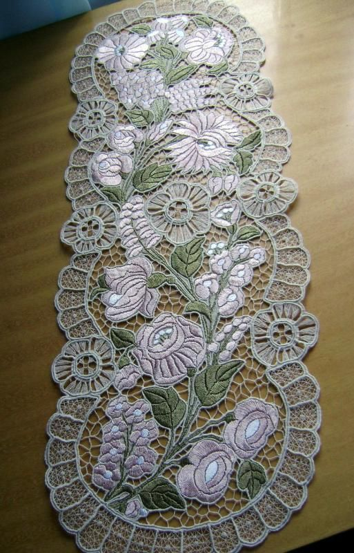 Kalocsa lace (Richelieu) table runner with authentic Hungarian embroidery patterns - LACE-KAL-MAUVE-225