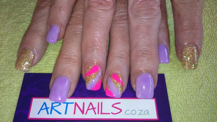 Light purple, neon pink and custom gold acrylic nails I did for client