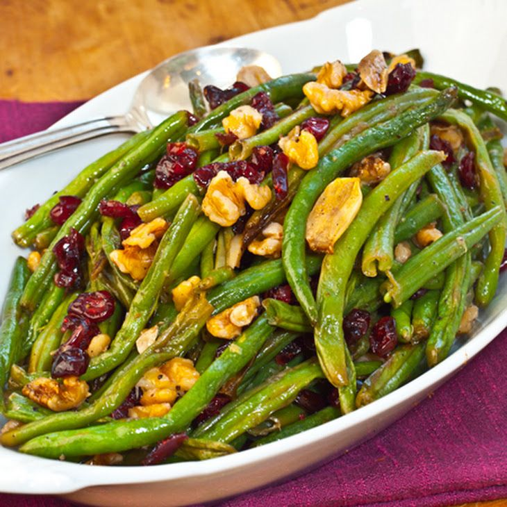 Roasted Green Beans with Cranberries and Walnuts Recipe Side Dishes with green beans, garlic, extra-virgin olive oil, kosher salt, ground black pepper, sugar, lemon zest, lemon juice, dried cranberries, walnuts