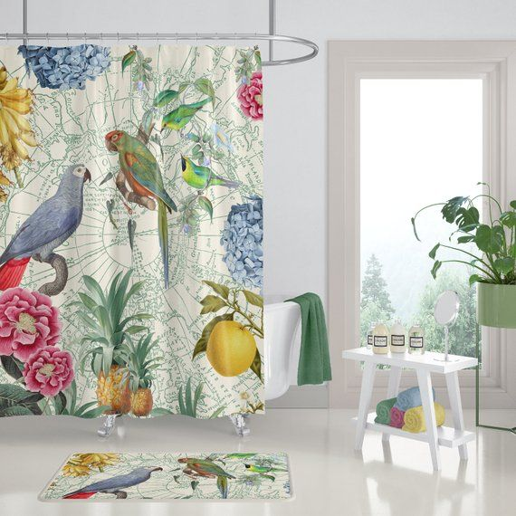 Tropical Parrot Shower Curtain On Cream Birds Flowers Fruit