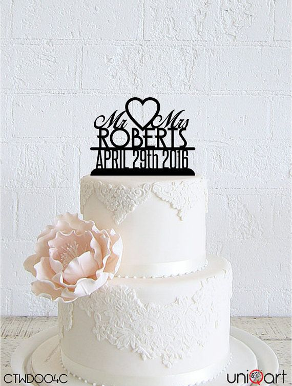 Mr & Mrs Personalized Wedding Cake Topper, Customizable Lastname, Date, Removable Stakes, Free Base for After Event, Gift, Keepsake CTWD004C