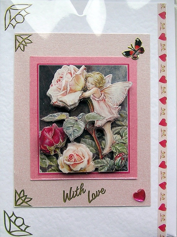 Rose Fairy HandCrafted 3D Decoupage Card  With by SunnyCrystals, £1.85