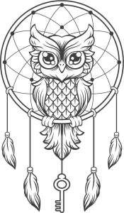 Eule im Traumfänger zum ausmalen | Owl | Pinterest | Drawings