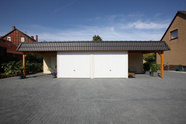 ADM-Garagen.de - Doppelgaragenanlage mit Geräteraum, Carport und Scheindach
