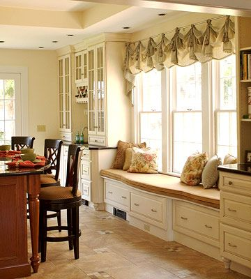 Window Seat Storage  If you have the space in your kitchen, put in a window seat for additional seating and storage. Store special-occasion...