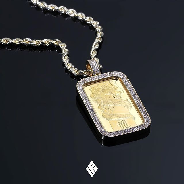 Solid 14k Yellow Gold Fully Iced Standard Diamond Bezel On 1oz Suisse Pamp Fine 24k Gold Bar Available Now O Gold Bar Pendant Gold Chain Choker Custom Jewelry