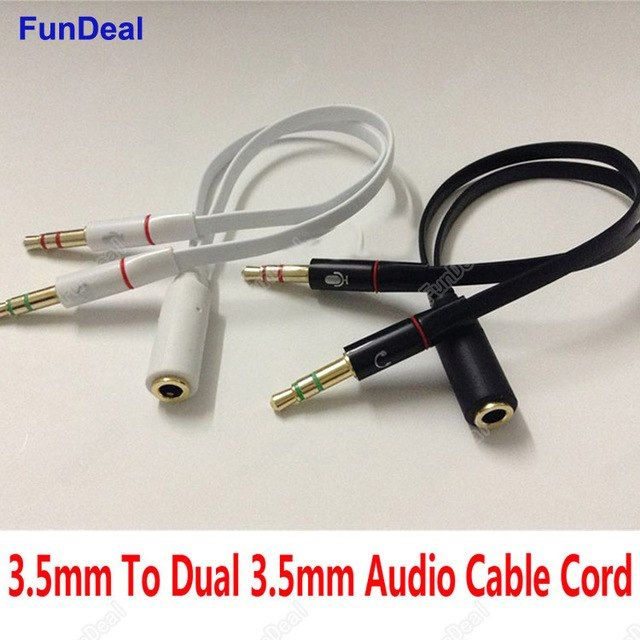 3 5mm Stereo Mini Jack 1 Female To 2 Male Headphone Earphone Audio Cable Micphone Y Splitter Adapter Connected Cord To Laptop Pc Pc Laptop Audio Cable Earphone