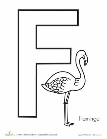 flamingo coloring pages printable - f is for flamingo flamingos worksheets and the alphabet