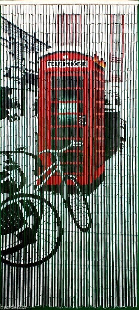 Natural Bamboo Retro Red Phone Booth Beaded Door Window