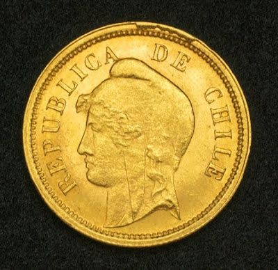 Chile 10 Pesos Gold Coin, 1895. Obverse: Head of Lady Liberty left, wearing phrygian cap