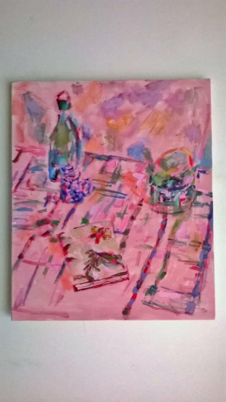 Pink tea time. Oil on canvas, 50x60 cm. May Kotsana