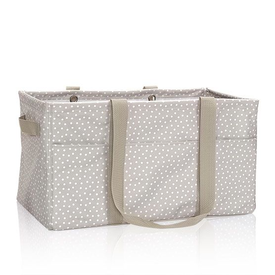 Taupe Dancing Dot Deluxe Utility Tote | Thirty-One Bags | These are tried and true - can be used as toy box, laundry basket, beach bag - you name it! I think I want at least 2 of these! I love a bag that stays open and upright so you can reach in and grab what you need.