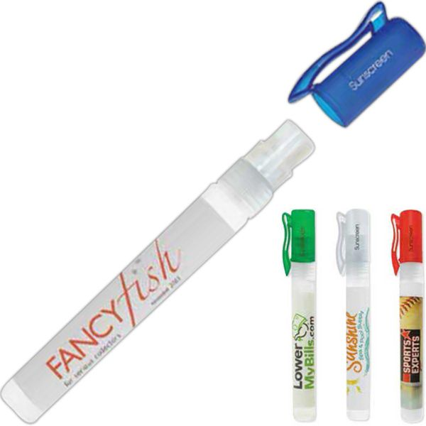A perfect promotion for travel agencies and hotel chains, this sunscreen spray pump features a fine mist spray with a light coconut scent and includes 30 SPF to help protect against the sun's harmful rays. Choose from the primary color options, add your name or logo to the adhesive label and hand them out as giveaways at the next tradeshow you attend. Makes great party favors for beach-themed celebrations. Proudly Made in the USA!