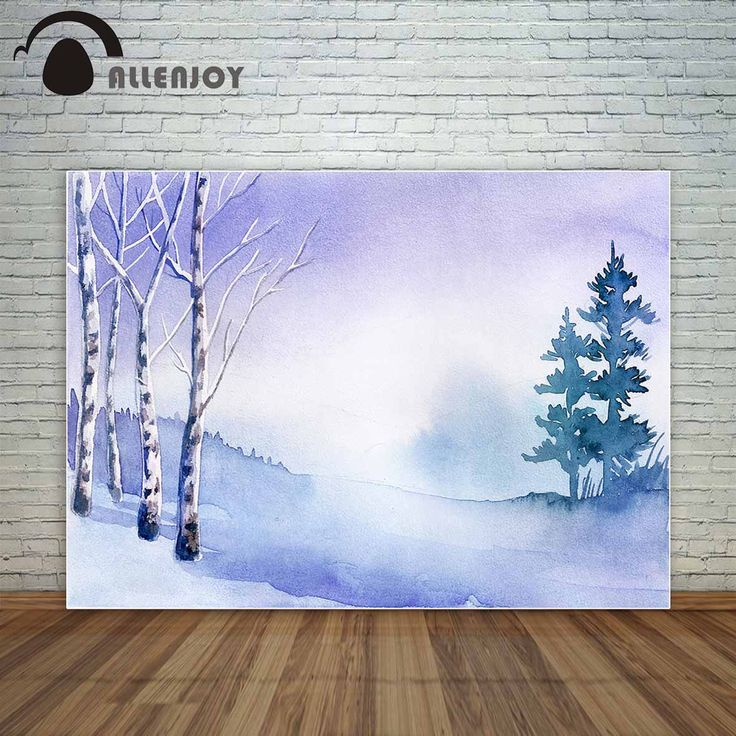 Allenjoy winter snow drawing gouache style backdrop for children tree forest photo background fund fond studio photo