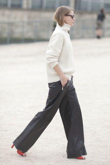 [Paris Fashion Week Fall 2013] Slouchy volume-on-volume: BIG slouchy sweater + slouchy wide-leg pants.
