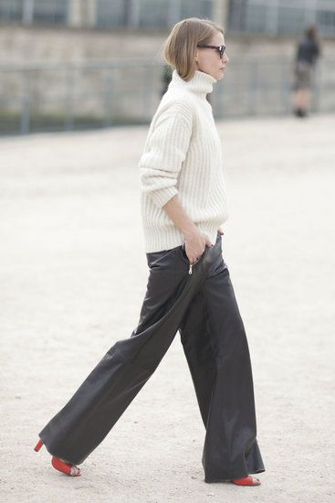[Paris Fashion Week Fall 2013] Slouchy volume-on-volume: BIG slouchy sweater + slouchy wide-leg pants.