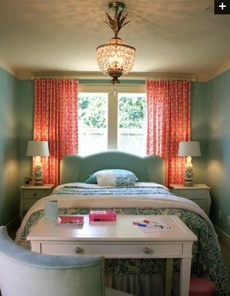 Beautiful bedroom with a pinapple fixture!!!!     Coral and turquoise bedroom - I would tame the turquoise a little bit but love the combination!