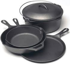 Lodge - Made in USA Cast Iron Cookware... At one time just about every Southern home was equipped with cast iron cookware... holds the heat at an even temp ... never wears out ... I highly recommend these products.