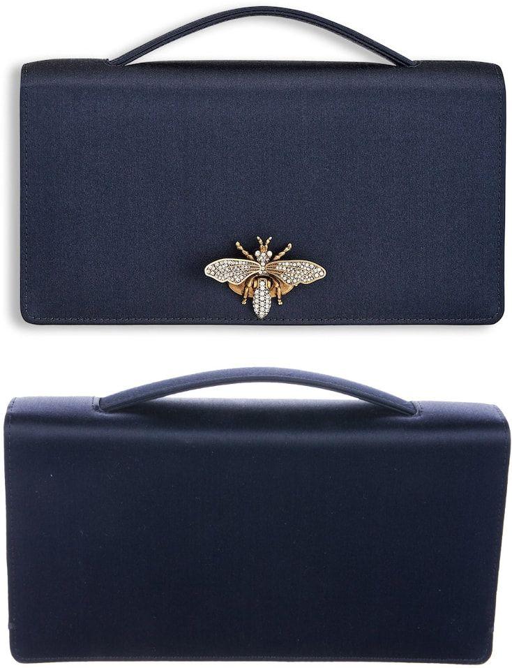 Meghan s Dior Navy Satin Clutch Bag (bespoke piece without bee clasp)  (original design on Dior s website  825.00) fdd2b7f2b7ed7