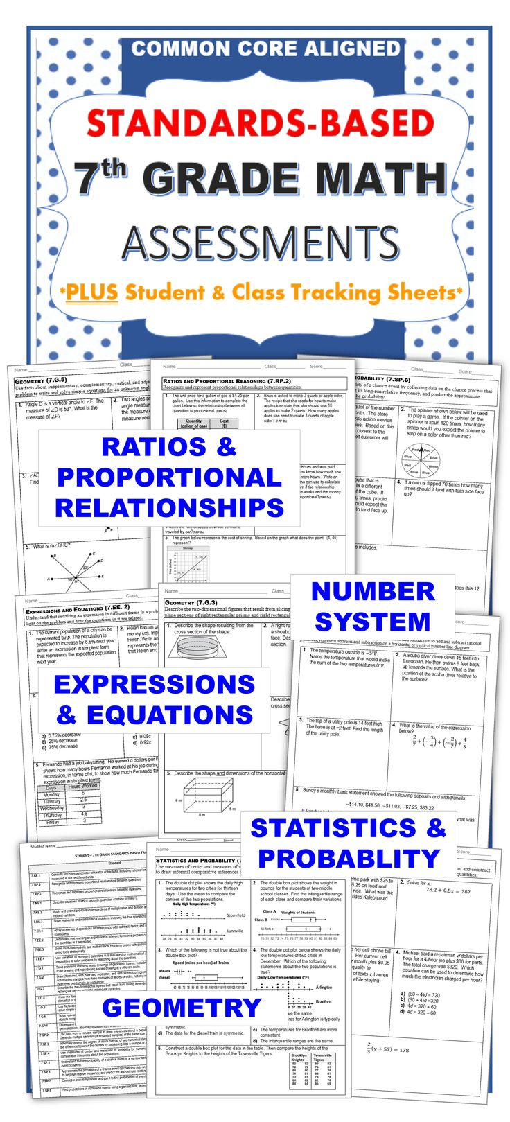 7th Grade Math Standards Based Assessments * All Standards * {Common Core} Includes a 1 page quick assessment for every common core math standard for 7th grade, a student checklist for each domain and a class tracking sheet.  Perfect for homework, assessments, test prep, group work or math centers!   Common Core aligned: Ratios and Proportional Reasoning (7RP), The Number System (7NS), Expressions and Equations (7EE), Geometry (7G),  Statistics and Probability (7SP)