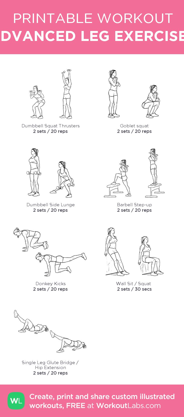 ADVANCED LEG EXERCISES: my custom printable workout by @WorkoutLabs #workoutlabs #customworkout