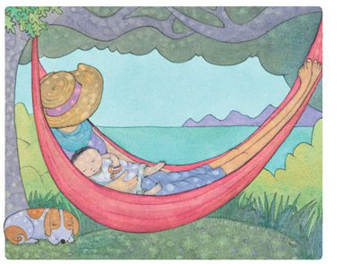 'Rest in the Shade', limited edition print by Alison Lester.  From picture book 'Kissed by the Moon' (Penguin Books).   Available at Books Illustrated.