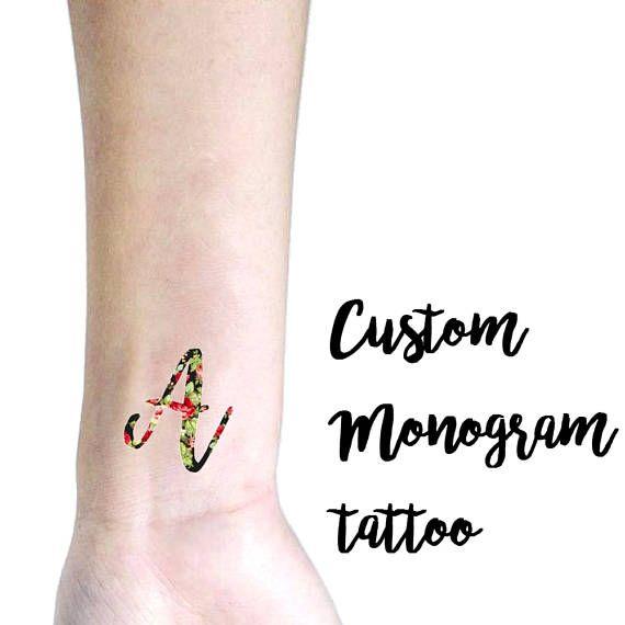 Custom Monogram Temporary Tattoo with Your Initial / Custom
