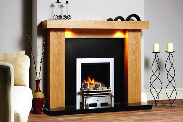 Ledge contemporary fireplace