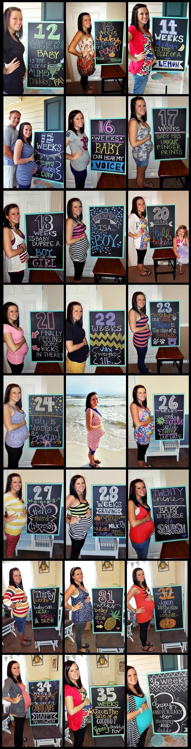 Pregnancy Tracker via Chalkboard {thedupreesandbaby.blogspot.com}    chalkboard inspiration - littlebabygarvin
