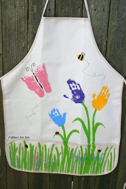 """I so want to do this for my sister-in-laws first Mother's Day without her little Angel. I need to get a copy of her footprints & handprints & make a stamp of it (found one & it is on this board - """"Angels in Heaven"""" ). I have several ideas for other holidays too on another board. DIY handprint apron - good gift for Mother's Day. Can buy aprons at craft / fabric stores."""