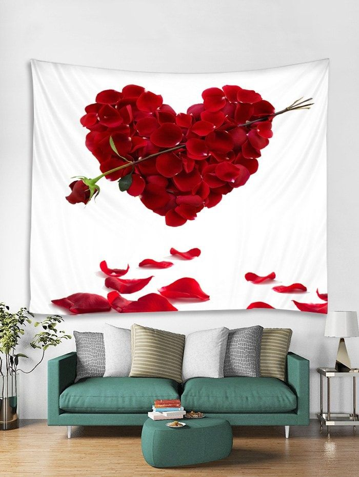 Valentines Day Rose Petal Print Tapestry Wall Hanging Art