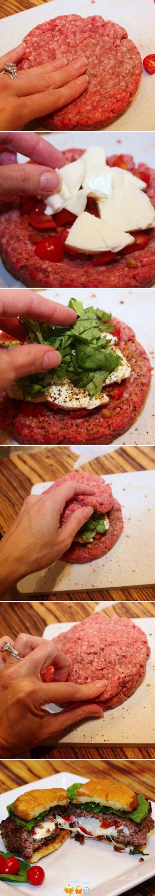 Steak haché au fromage basilic et tomate