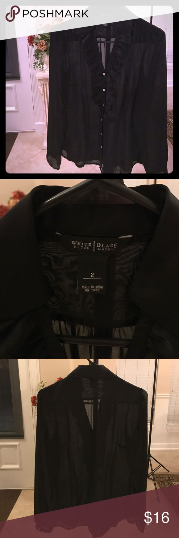 White House Black Market Blouse In perfect condition with so much attention to detail! Smocked accents on shoulders and cute ruffles in the front. Blouse has silver buttons and long sleeves. Very silky sheer polyester material that does not wrinkle. Comes from a smoke free home. White House Black Market Tops Blouses