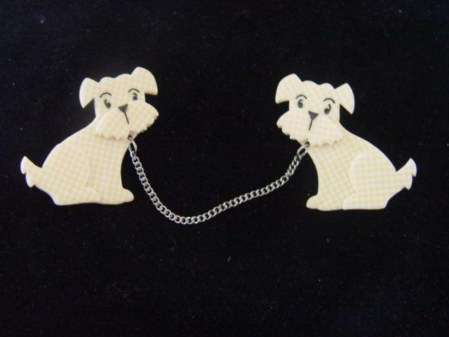 ERSTWILDER RESIN BROOCH -HENRY'S DELIGHTFUL DUO DOGS Designed by Louisa Camille #Erstwilder
