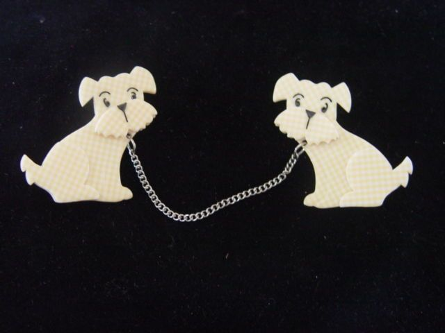 ERSTWILDER RESIN BROOCH -HENRY'S DELIGHTFUL DUO DOGS Designed by Louisa Camille #Erstwilder