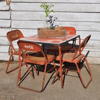 297 best coca cola furniture images on pinterest coke coca cola kitchen and pepsi - Coca cola table and chairs set ...
