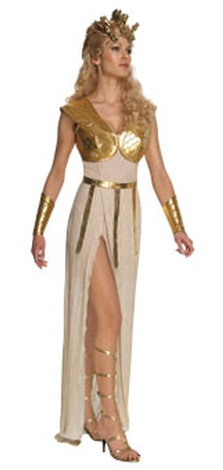 Athena Sexy Adult Costume includes long cream-colored dress with a high slit, gold lamé vest, belt with golden dangles, and gold gauntlets. Wig and shoes not included.